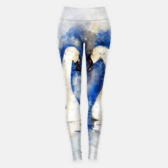 Miniatur Beautiful Swan Couple Leggings, Live Heroes