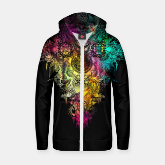 "Thumbnail image of Mandala - ""Anosognosia"" - flowers and galaxy Cotton zip up hoodie, Live Heroes"