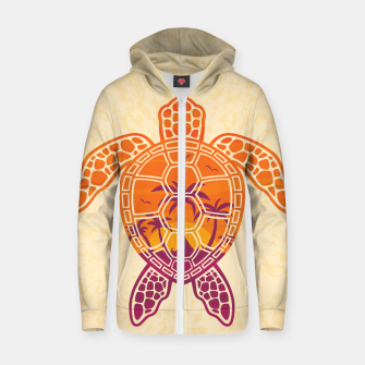 Miniatur Tropical Sunset Sea Turtle Design Cotton zip up hoodie, Live Heroes