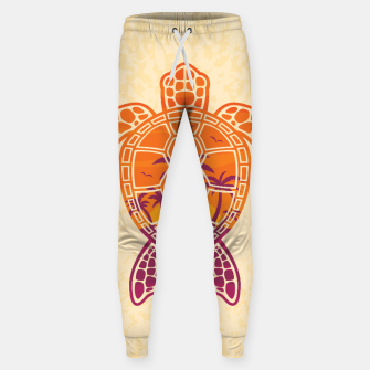 Thumbnail image of Tropical Sunset Sea Turtle Design Cotton sweatpants, Live Heroes