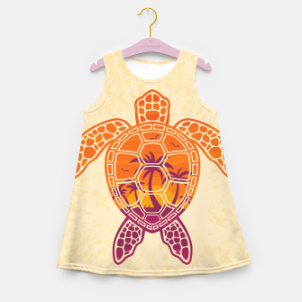 Thumbnail image of Tropical Sunset Sea Turtle Design Girl's summer dress, Live Heroes