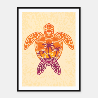Thumbnail image of Tropical Sunset Sea Turtle Design Framed poster, Live Heroes