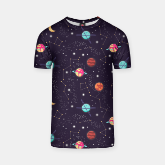 Thumbnail image of Universe with planets and stars seamless pattern, cosmos starry night sky 002 T-shirt, Live Heroes