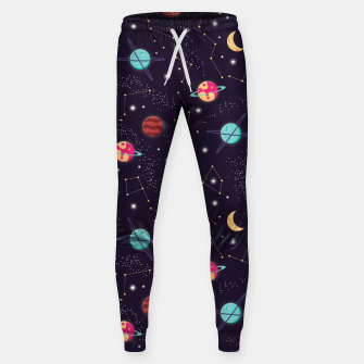 Thumbnail image of Universe with planets and stars seamless pattern, cosmos starry night sky 002 Cotton sweatpants, Live Heroes