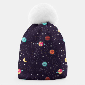 Thumbnail image of Universe with planets and stars seamless pattern, cosmos starry night sky 002 Beanie, Live Heroes