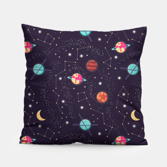 Thumbnail image of Universe with planets and stars seamless pattern, cosmos starry night sky 002 Pillow, Live Heroes