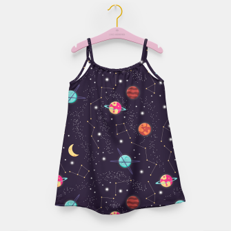Thumbnail image of Universe with planets and stars seamless pattern, cosmos starry night sky 002 Girl's dress, Live Heroes