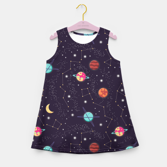 Thumbnail image of Universe with planets and stars seamless pattern, cosmos starry night sky 002 Girl's summer dress, Live Heroes