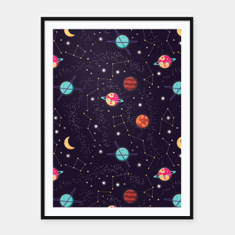 Thumbnail image of Universe with planets and stars seamless pattern, cosmos starry night sky 002 Framed poster, Live Heroes