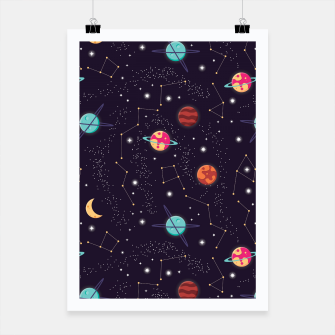 Thumbnail image of Universe with planets and stars seamless pattern, cosmos starry night sky 002 Poster, Live Heroes