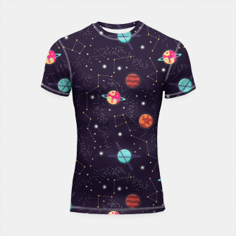 Thumbnail image of Universe with planets and stars seamless pattern, cosmos starry night sky 002 Shortsleeve rashguard, Live Heroes
