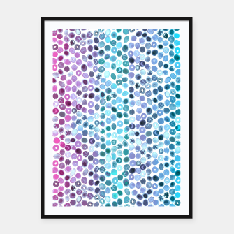 Miniatur Watercolor Brush Strokes and Splashes Pattern in Pink, Turquoise and Blue Framed poster, Live Heroes