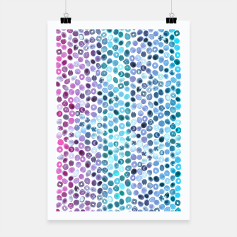 Miniatur Watercolor Brush Strokes and Splashes Pattern in Pink, Turquoise and Blue Poster, Live Heroes
