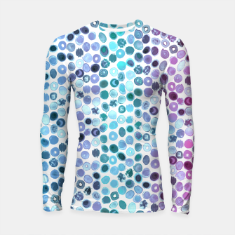 Miniatur Watercolor Brush Strokes and Splashes Pattern in Pink, Turquoise and Blue Longsleeve rashguard , Live Heroes
