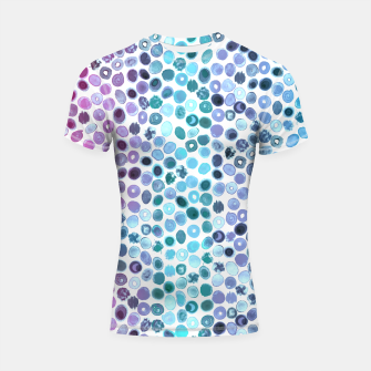 Miniatur Watercolor Brush Strokes and Splashes Pattern in Pink, Turquoise and Blue Shortsleeve rashguard, Live Heroes