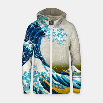 Thumbnail image of Great Wave off Kanagawa Cotton zip up hoodie, Live Heroes