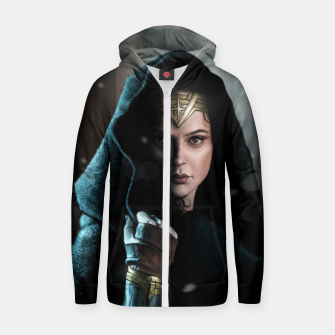 Thumbnail image of Warrior Princess Cotton zip up hoodie, Live Heroes
