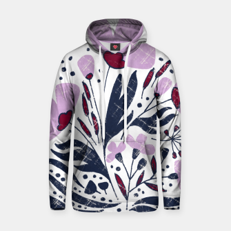 Thumbnail image of Navy and Orchid Floral Dance Cotton hoodie, Live Heroes