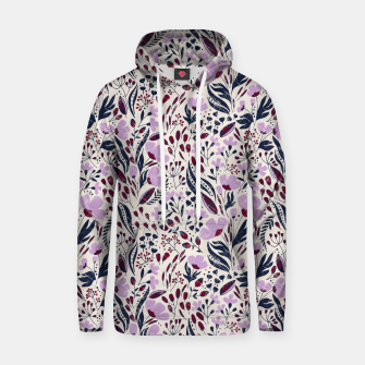 Thumbnail image of Navy and Orchid Floral Dance Seamless Cotton hoodie, Live Heroes