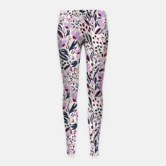 Thumbnail image of Navy and Orchid Floral Dance Seamless Girl's leggings, Live Heroes