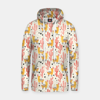 Thumbnail image of Yellow Llamas Red Cacti Cotton hoodie, Live Heroes