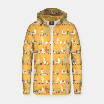 Imagen en miniatura de Happy llama with cactus in a pot Cotton zip up hoodie, Live Heroes