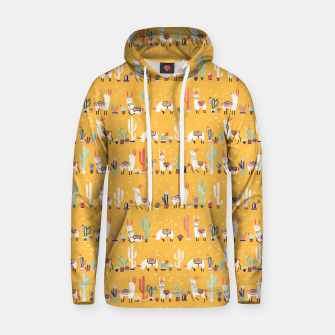 Thumbnail image of Happy llama with cactus in a pot Cotton hoodie, Live Heroes