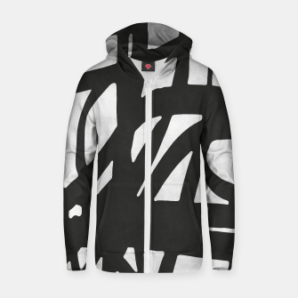 Thumbnail image of Black and white expressionism Cotton zip up hoodie, Live Heroes