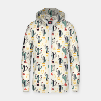 Cactus in a Pot Cotton zip up hoodie thumbnail image