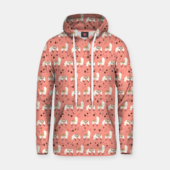 Thumbnail image of White Llamas in a pink desert Cotton hoodie, Live Heroes