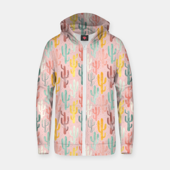 Long Multicolored Cacti Cotton zip up hoodie thumbnail image