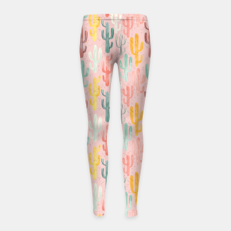 Thumbnail image of Long Multicolored Cacti Girl's leggings, Live Heroes