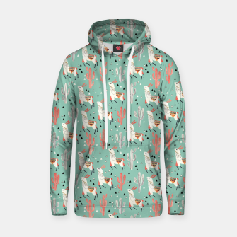 Thumbnail image of Llama in green desert Cotton hoodie, Live Heroes