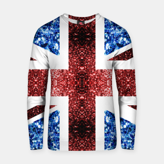 Thumbnail image of UK flag red and blue sparkles glitters Cotton sweater, Live Heroes