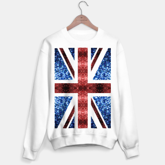 Thumbnail image of UK flag red and blue sparkles glitters Sweater regular, Live Heroes