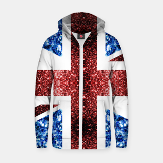 Thumbnail image of UK flag red and blue sparkles glitters Cotton zip up hoodie, Live Heroes