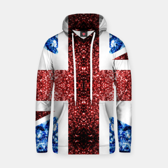 Thumbnail image of UK flag red and blue sparkles glitters Cotton hoodie, Live Heroes