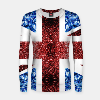 Thumbnail image of UK flag red and blue sparkles glitters Woman cotton sweater, Live Heroes