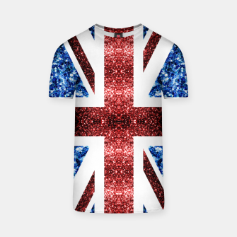 Thumbnail image of UK flag red and blue sparkles glitters T-shirt, Live Heroes