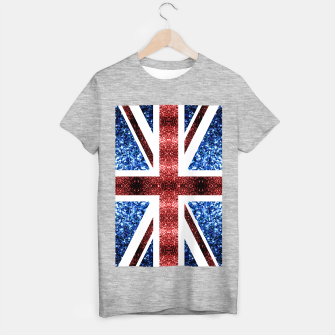 Thumbnail image of UK flag red and blue sparkles glitters T-shirt regular, Live Heroes