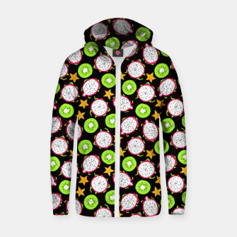 Thumbnail image of Exotic fruits on black Cotton zip up hoodie, Live Heroes
