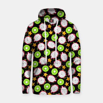 Thumbnail image of Exotic fruits on black Cotton hoodie, Live Heroes