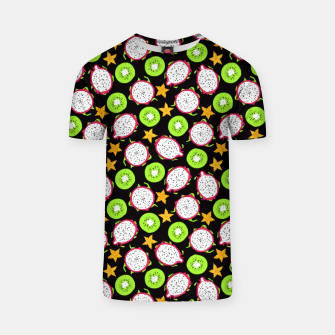 Thumbnail image of Exotic fruits on black T-shirt, Live Heroes