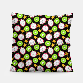 Thumbnail image of Exotic fruits on black Pillow, Live Heroes