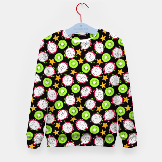 Thumbnail image of Exotic fruits on black Kid's sweater, Live Heroes