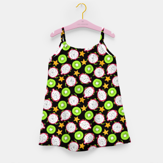 Thumbnail image of Exotic fruits on black Girl's dress, Live Heroes