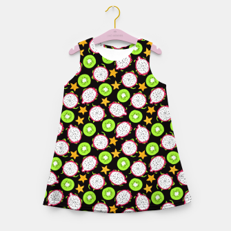 Thumbnail image of Exotic fruits on black Girl's summer dress, Live Heroes