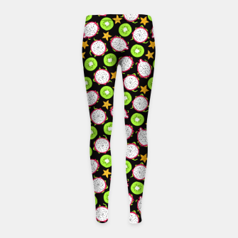 Thumbnail image of Exotic fruits on black Girl's leggings, Live Heroes