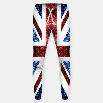 Thumbnail image of UK flag red and blue sparkles glitters Cotton sweatpants, Live Heroes