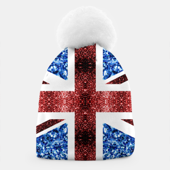 Thumbnail image of UK flag red and blue sparkles glitters Beanie, Live Heroes